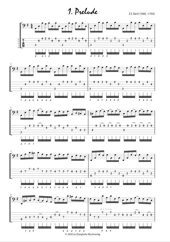 Guitar bach cello suite 1 guitar sheet music : Klangfarbe Musikverlag Noten Shop - Bach for Bass - 1st Suite for ...