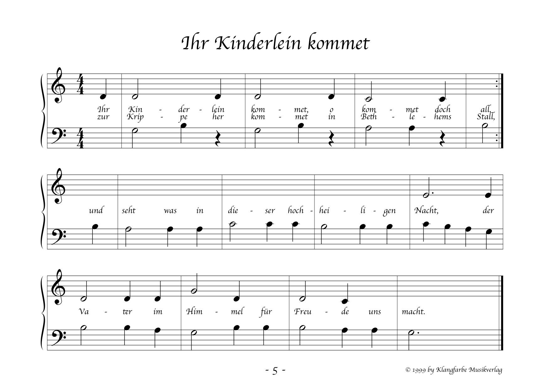 Klangfarbe Musikverlag Noten Shop - Morgen kommt der Weihnachtsmann ...